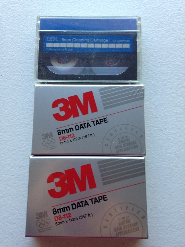 Like New   3M and IBM  8mm Data Tapes (2) plus Cleaning C...