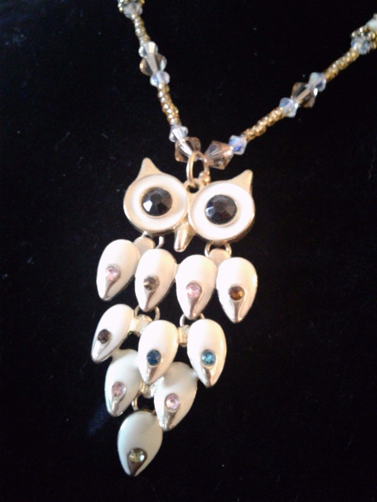 New Womens    Swarovski Crystal Owl Necklace
