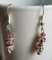 New     Purple and Silver Rhinestone Earrings
