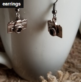 New     Silver Camera Earrings