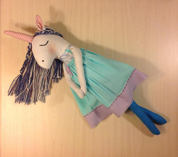 New Womens  NatashaArtDolls Unicorn Girl Handmade Cloth F...
