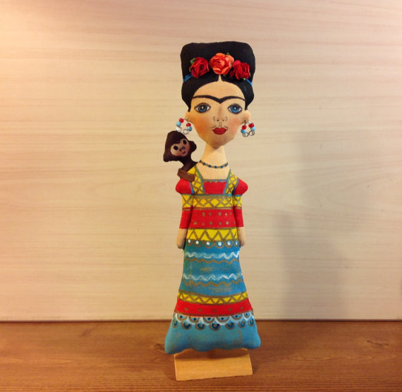 New   NatashaArtDolls Frida Girl Handmade Cloth Mexican A...