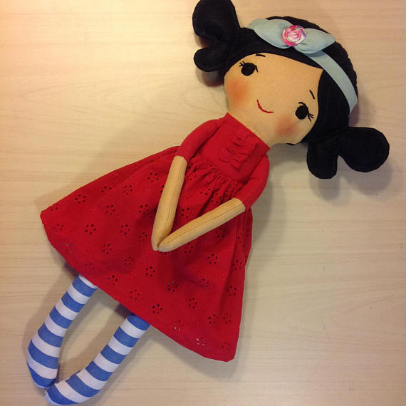 New Womens  NatashaArtDolls Black-Hair Girl Handmade Clot...