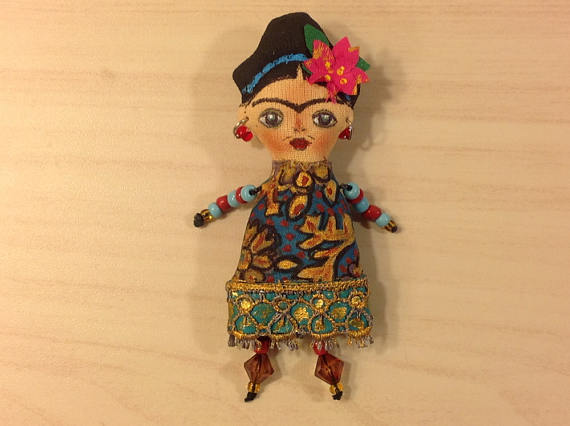 New Womens  NatashaArtDolls Frida Brooch Handmade Cloth M...
