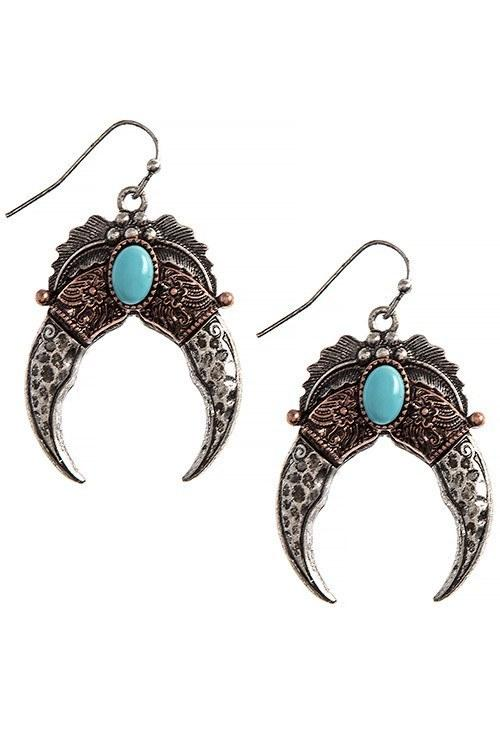 New Womens    Ornate Squash Blossom Turquoise Drop Earrin...