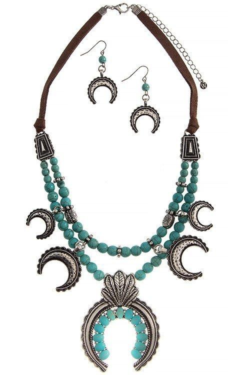 New Womens    Turquoise Bead Squash blossom Necklace Set