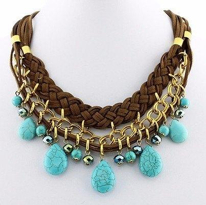 New Womens    Boho Turquoise and Gold Leather Necklace
