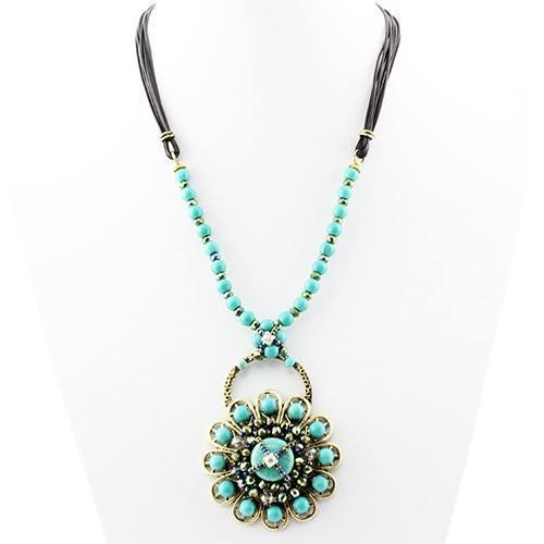New Womens    Boho Turquoise Bead Flower Necklace