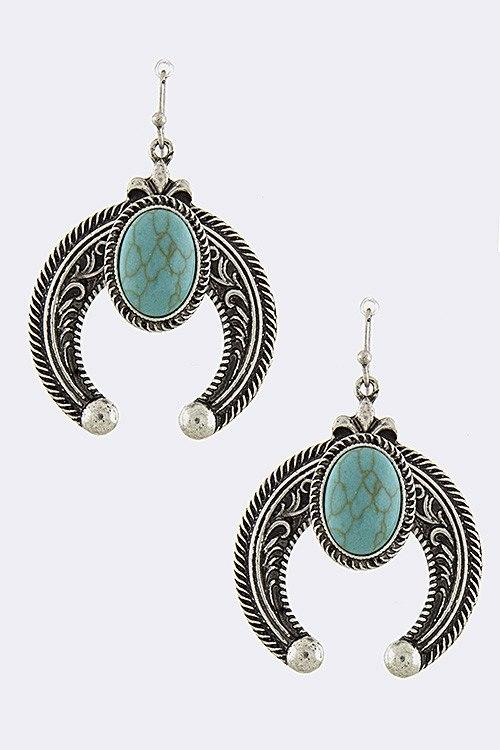 New Womens    Squash Blossom Turquoise Drop Earrings