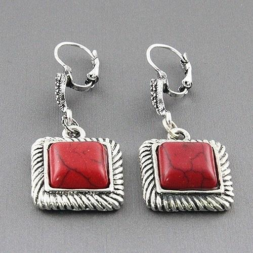 New Womens    Coral Square Earrings