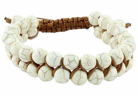New Womens    Ivory Two Row Knotted Adjustable Bracelet