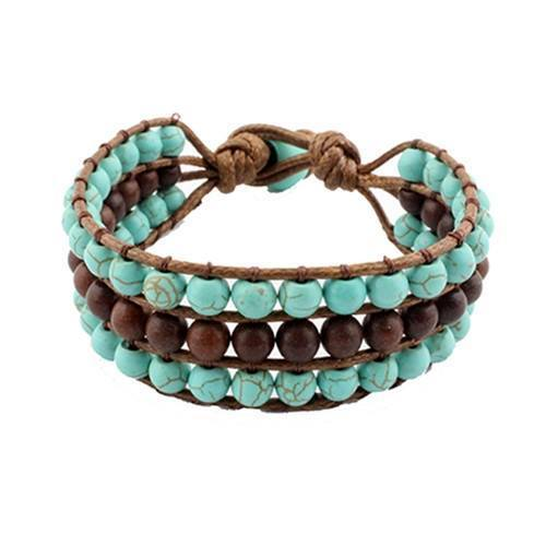 New Womens    Knotted 3 Row Bracelet Turquoise & Brown