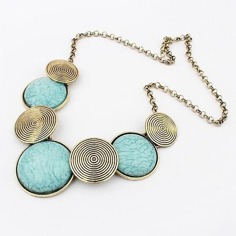 New Womens    Turquoise Circles Necklace