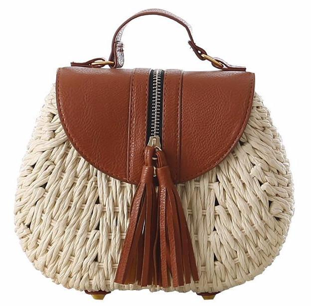 New Womens    Messenger Straw Crossbody with Tassel Zippe...