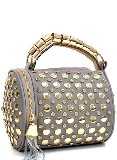 New Womens    Tasseled Metal Dots Handbag