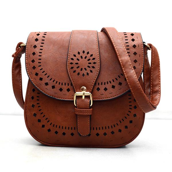 New Womens    Bohemain Handtoolled Vegan Leather Saddle B...