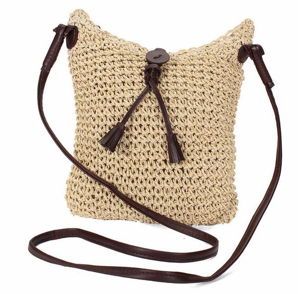 New Womens    On the Road Again Crossbody Jute Handbag