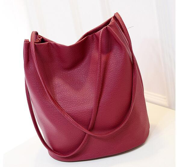 New Womens    Leather Bucket Shoulder Bag