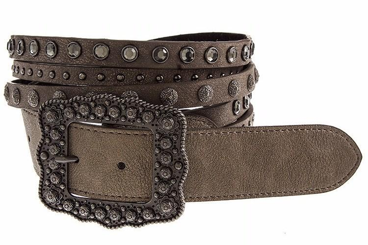 New Womens    Studded Rhinestone Brown Leather Belt