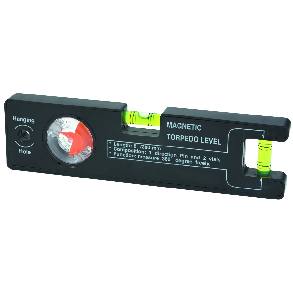 New   Pittsburgh  8 In. Black Magnetic Torpedo Level with...