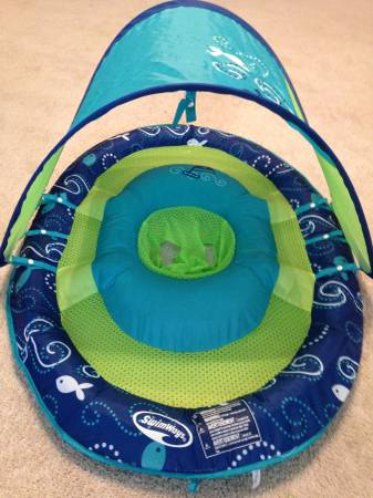 Like New   SwimWays  Baby Spring Float with Sun Canopy