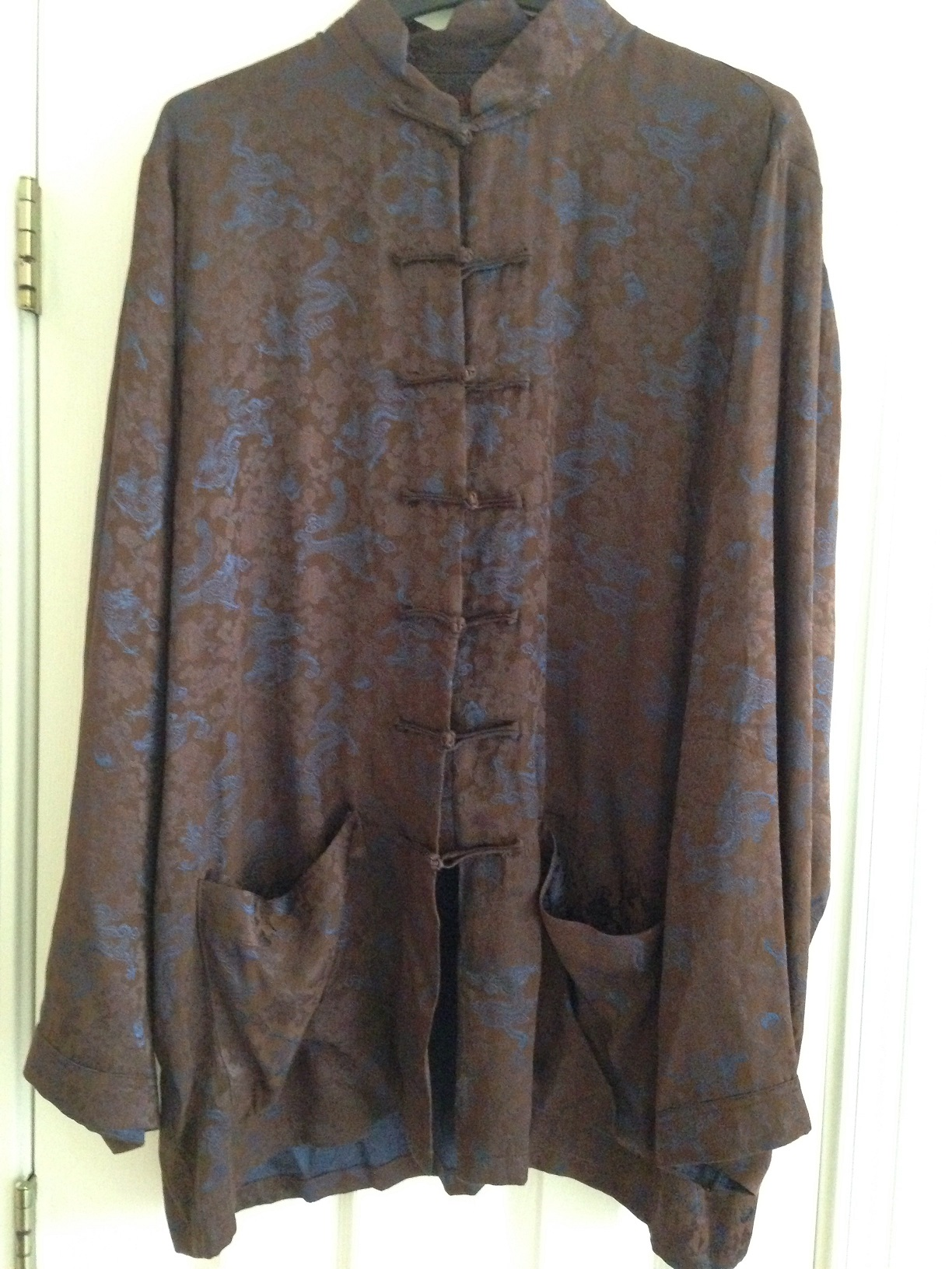 Like New Mens  Old Shanghai  Brown and Blue Silk Pajamas